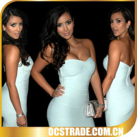 2014 strapless white bandage cocktail dress for teenagers