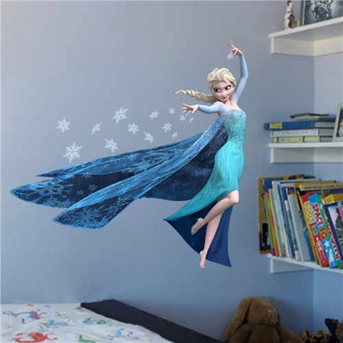 New products Disney Gift wall papaer Colorcasa 1418 kid room wall sticker Disney popular cartoon wall decal Frozen home decor