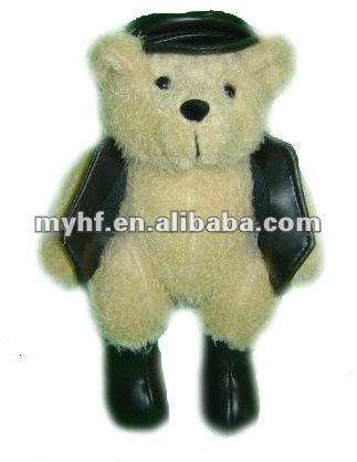 Promotion gift plush toys 17cm PU hat and cloth and shoes bear