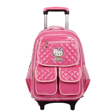 2015 OEM pink lovely fashion hello kitty school bag trolley