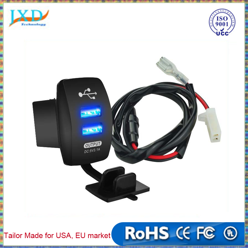 Waterproof 12V 24V Car Auto Motorcycle Boat Chargers 3.1A Dual USB Charger Power Adapter LED Outlet