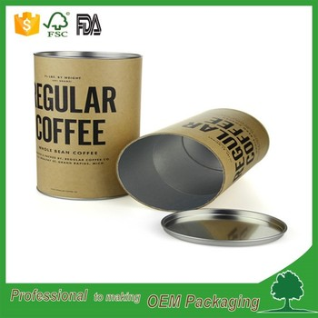 food grade packaging coffee tube aluminium foil paper inside coffee powder packaging tube