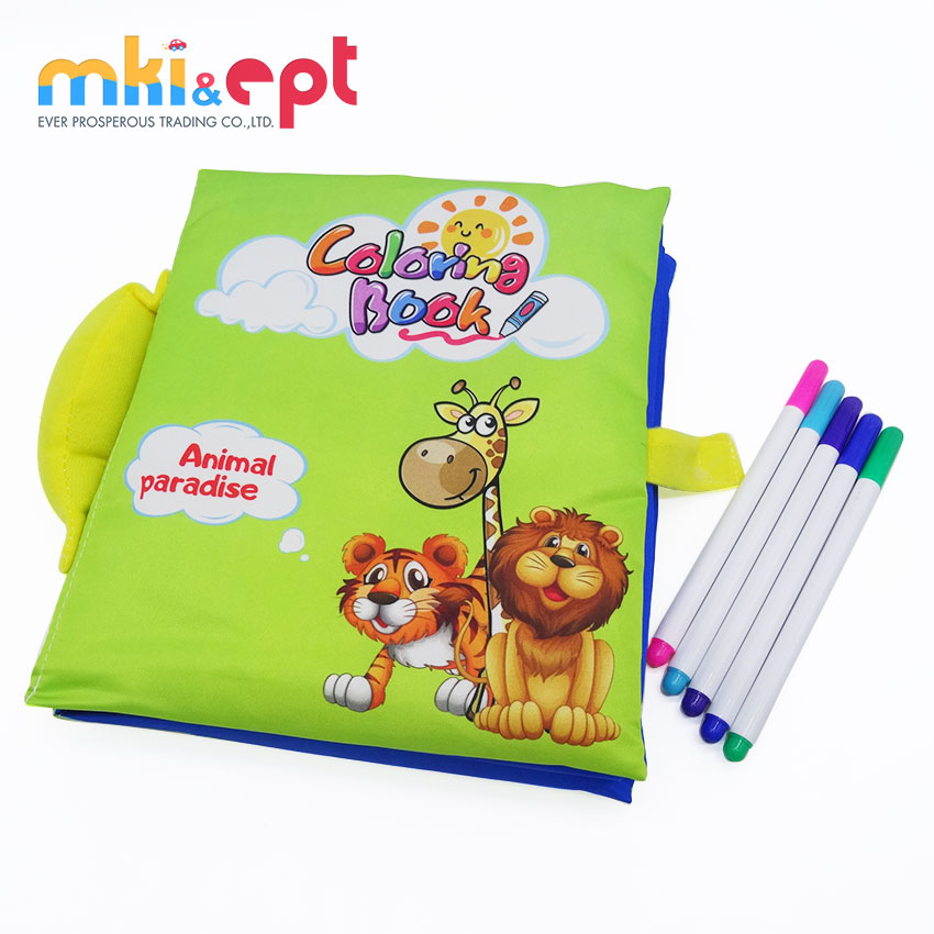 Animal Themed Reusable Water Coloring Book Magic Drawing Cloth With Refillable Pen