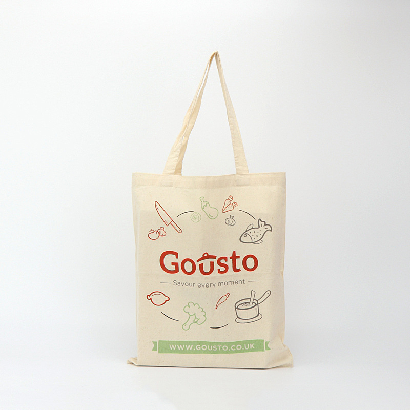 Custom digital printed logo zipper plain shopping canvas cotton tote bag