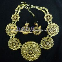 gold plated and colored stone jewelry set