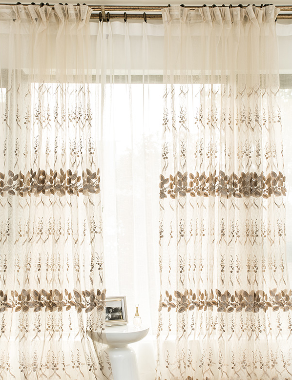 ready made light brown sheer floral embroidery curtains fabric modern fashion living room voile curtain