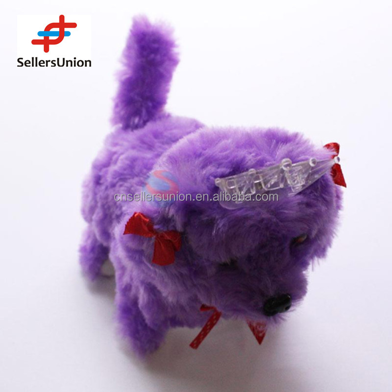 No.1 yiwu commission agent wanted Purple Plush Electronic Dog Toy for Kids