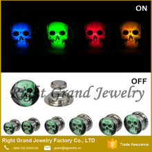 LED Skull Plug Screw Stainless Steel Lighted Ear Tunnel