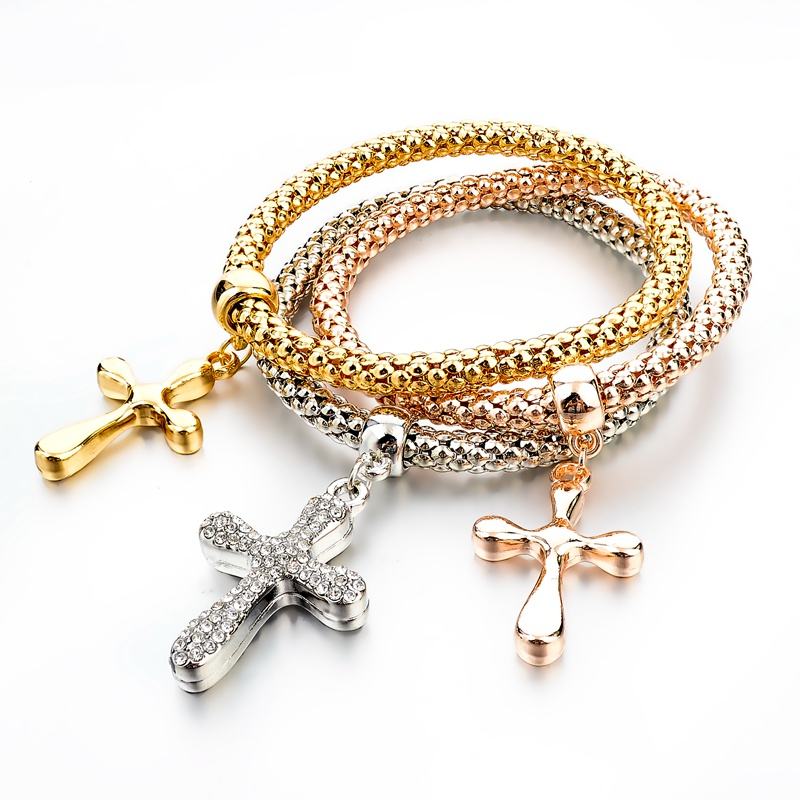 Celebrity Style Small Sideways Cross Bracelet with CZ <strong>Stones</strong> - Silver, Yellow or Rose Gold