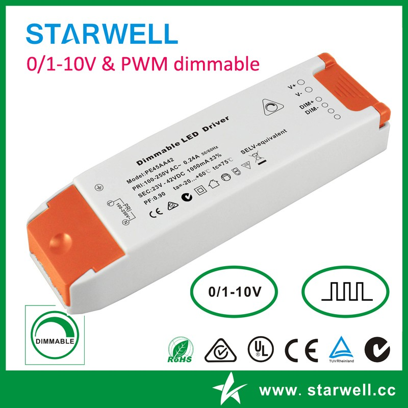 PE45AA 700ma dimming led driver with CE ROHS SAA 36-64V DC 0/1-10V 700ma led driver power supply