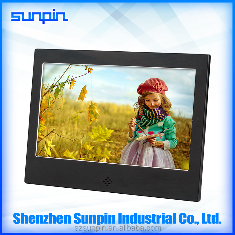 metal material 7 inch best electronic digital photo frame loop video playback