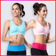 Women seamless gym wear sports bra with pad