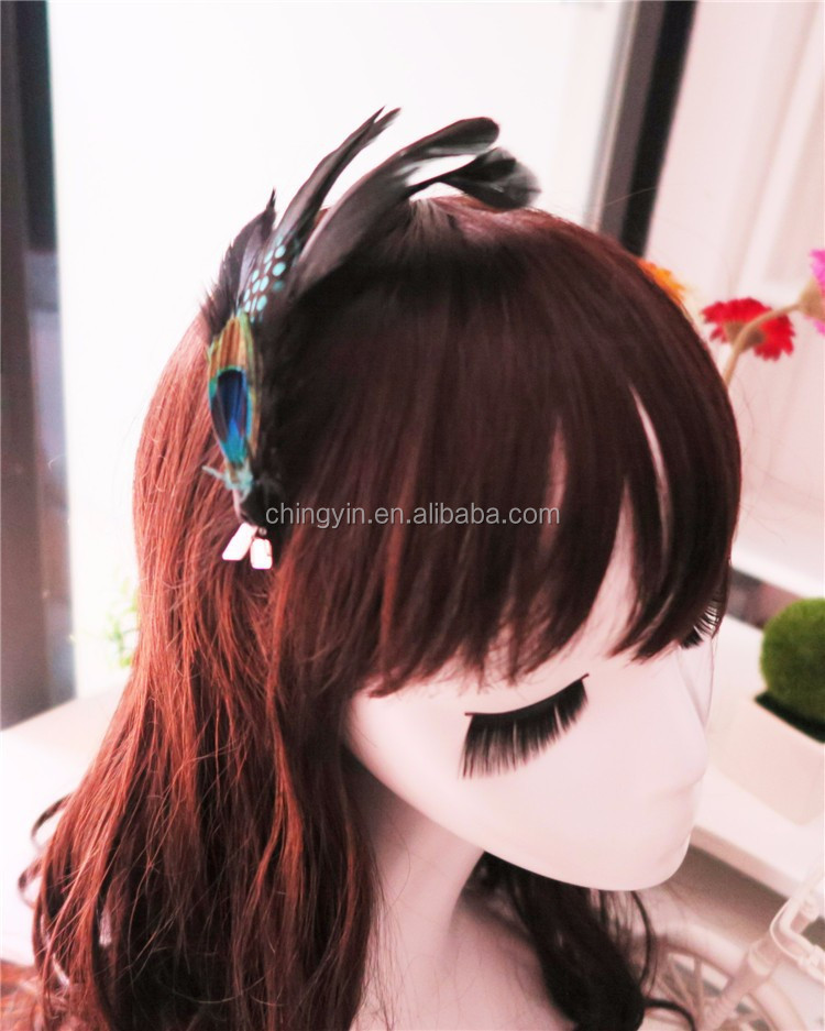 stocked !!!Hot Sale Kids Hair Accessories with Big Flower Women Feather Hairclips