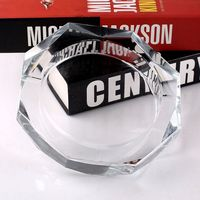 Promotion round engraved crystal blue glass ashtray