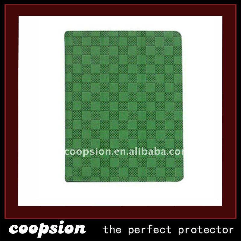 grid lines fasionable colorful smart PU case for ipad2 case CPI 29 green
