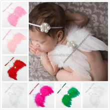 Infants Size Cheap Angel Wings With Match Flower Headband Small Feather