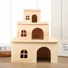 Non-toxic Natural pine wooden hamster hovel cage house hutch for guinea pig rat mice