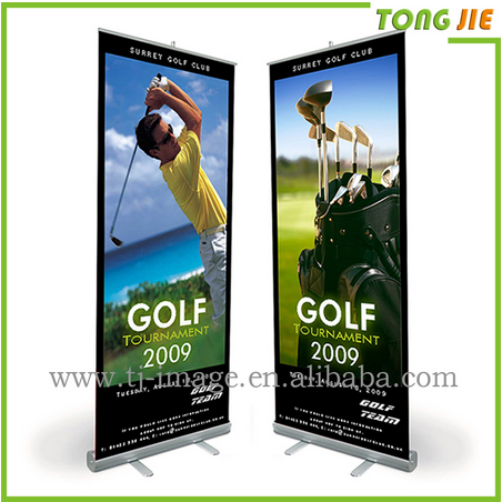 Custom Aluminum Full Color Hanging Roll Up Banner,Portable New Design Scrolling Roll Up Hanging Banner Stand