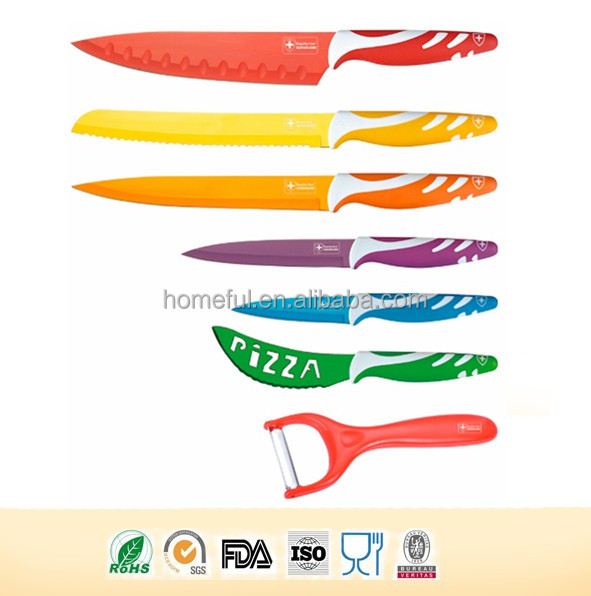 Swiss line kitchen 7pcs colorful non stick coating Knife set