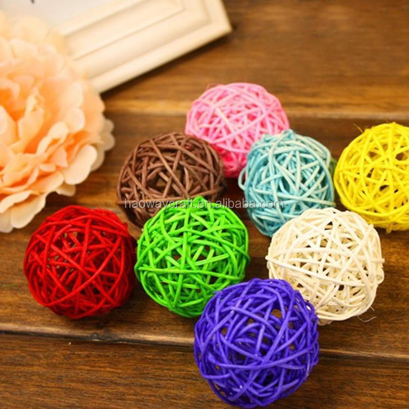 Top quality promotional rattan balls colorful Christmas rattan ball for decoration