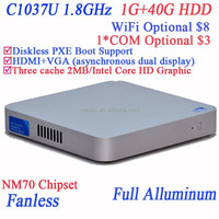 Low Powered slim pcs using Intel Celeron dualcore C1037U 1.8GHz cpu full alluminum 29mm extreme ultra-thin case 1G RAM 40G HDD