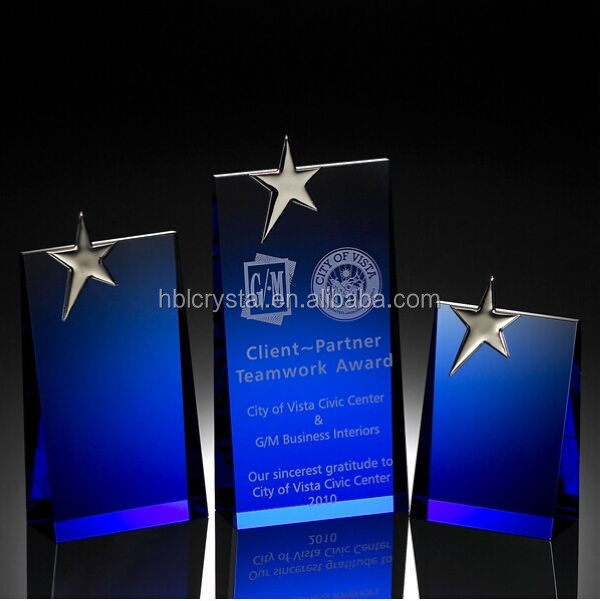 Nice blue wedge crystal plaque award for star performers' prize