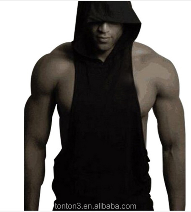 men custom silkscreen embriodery brand name logo black blank gym sleeveless hoodies