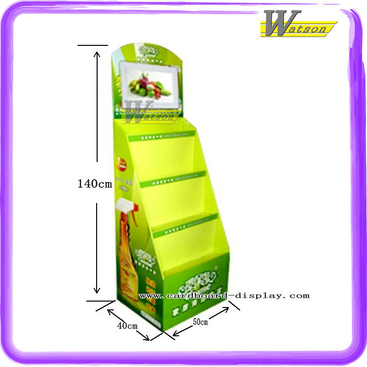 Several tiers cardboard floor display stand for air freshener