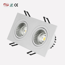 Twin head 7w 9w square cob spotlights 165*83mm cut out led downlights for hotel lighting