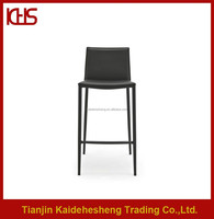 Black PU leather covered stackable metal high bar stools