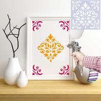 Mandala Floor Painting Stencils Set (6x6 Inch) Laser Cut Wall Stencil Painting for Wood Floor Tiles Fabric Template