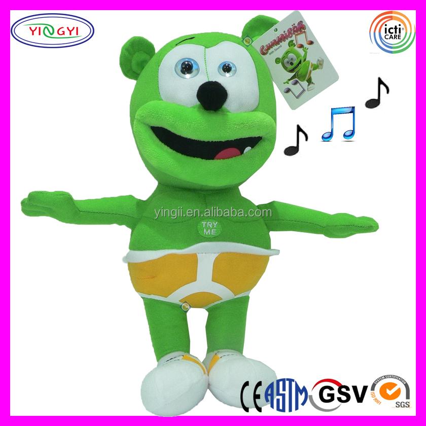 30cm Long Cartoon Gummy Bear Stuffed Electronic Song Plush Gummy Bear