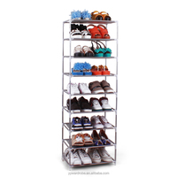OEM wholesale Non-woven, PPT, stainless steel pipe DIY free assembly 9 layers/tiers folding portable shoe rack
