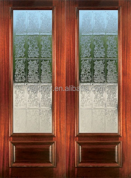 Decorative Glass Front Double Doors In <strong>Wood</strong> DJ-S9155M-4