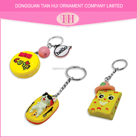 Custom wholesale newest hot sale fashion china marvel promotional cat / hamburger / cheese keychain