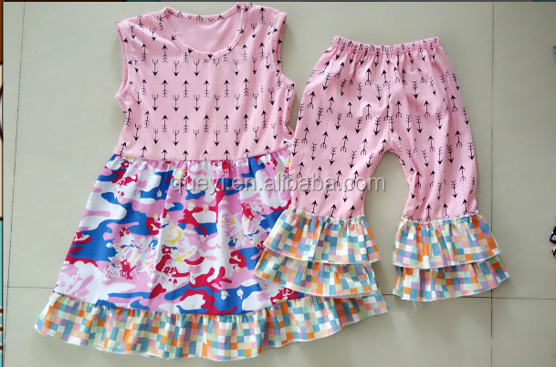 New arrive kids clothing wholesale s girl boutique clothing lovely little baby sets with pink arrow ruffle pants