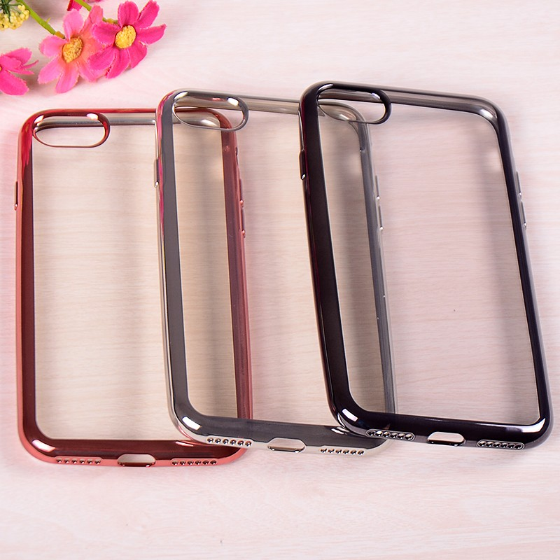 Gold Frame Electroplating Chrome Plated Bumper Soft Clear TPU Phone Cover Case Accessories for iphone