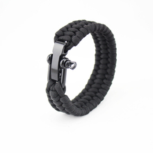 Black metal adjustable metal lighter buckle camping paracord bracelet Nylon braided survival bracelet
