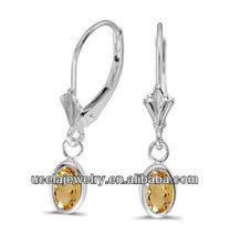 2014 Oval Citrine Bezel Lever-back Earrings new look fashion intimate jewelry