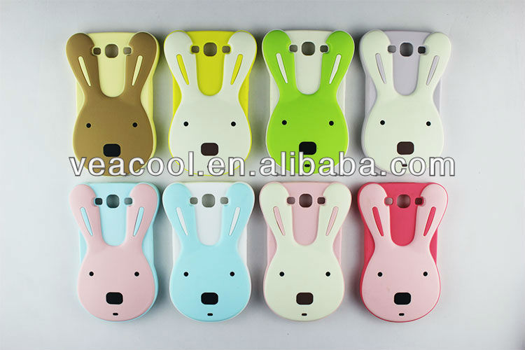 Rabbit Soft Silicone Back Phone Glow Case Cover for Samsung Galaxy S3 S III 3 i9300 with Noctilucent