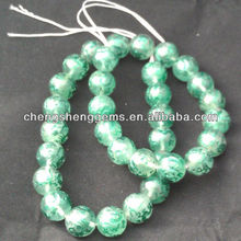 14mm natural round green fluorite carved green dragon jewelry finding beads