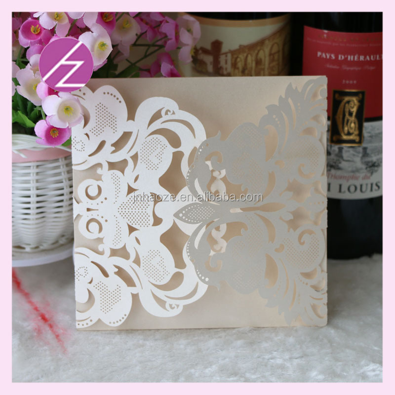 Laser Cut two parts open Embossed Flowers Wedding Invitations Printable arabic wedding invitation cards with low price