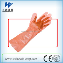 PE disposable elbow length gauntlets arm long gloves