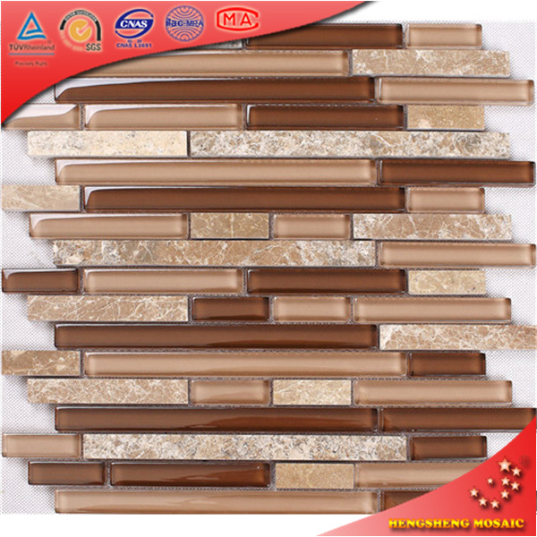 Cheap tile gold foil strip1*3 inch discount wall mosaic glass tile and stone