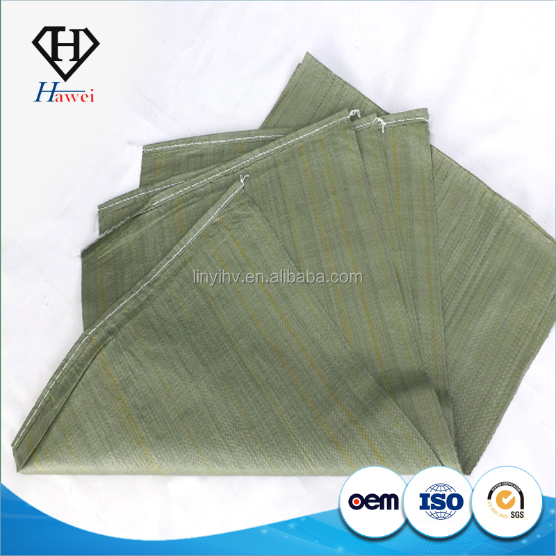 Green recycled PP woven bags for packaging construction waste, building garbage, sand, feed