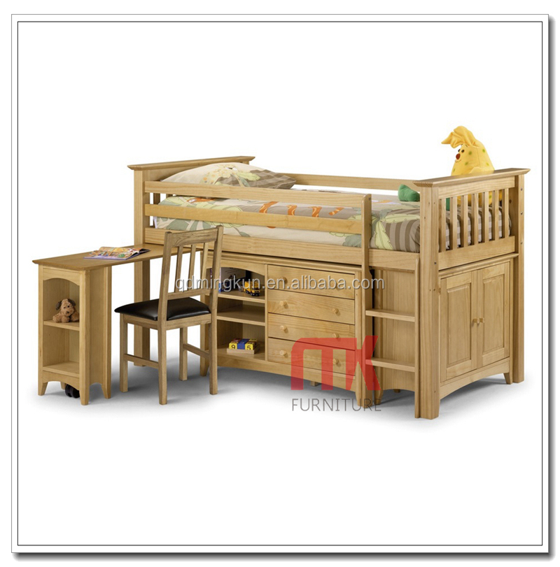 Solid pine wood kids loft bed with study table