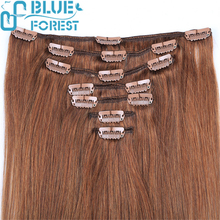Clip in Hair extension Dark Brown Color Silky Straight Pretty Design Colored Indian Human Hair Extensions Low Price