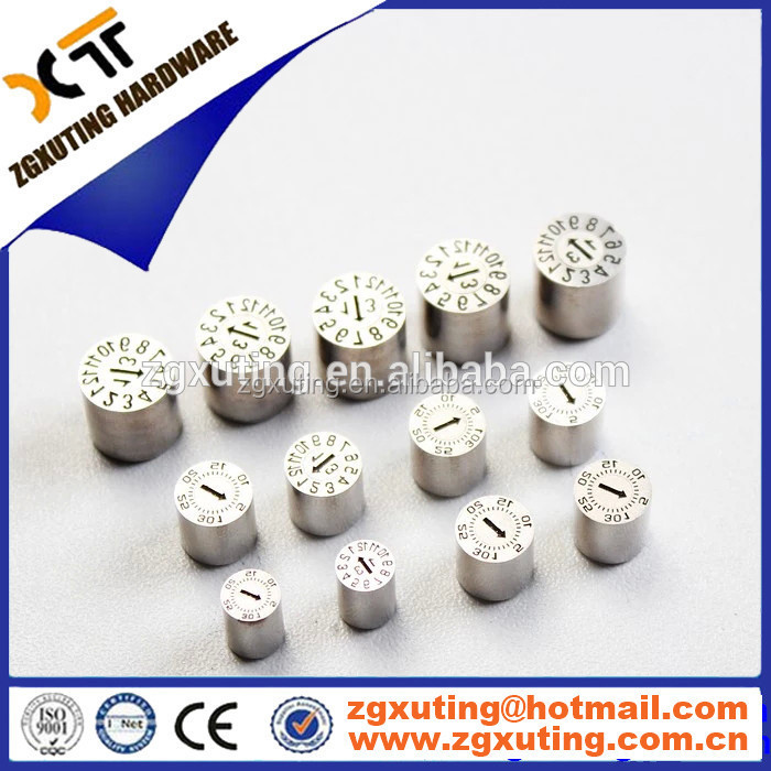 2017 date marked pins Manufacturing Clear Round Date Stamp For Mold year stamps for molding