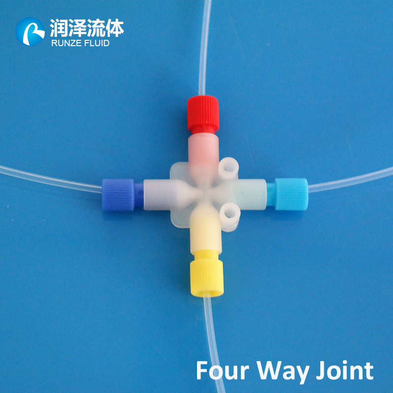 four channel plastic tubing cross joint