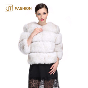 Hot selling jtfur whole skin horizontal stripes sleeves round neck women short real fox fur coat